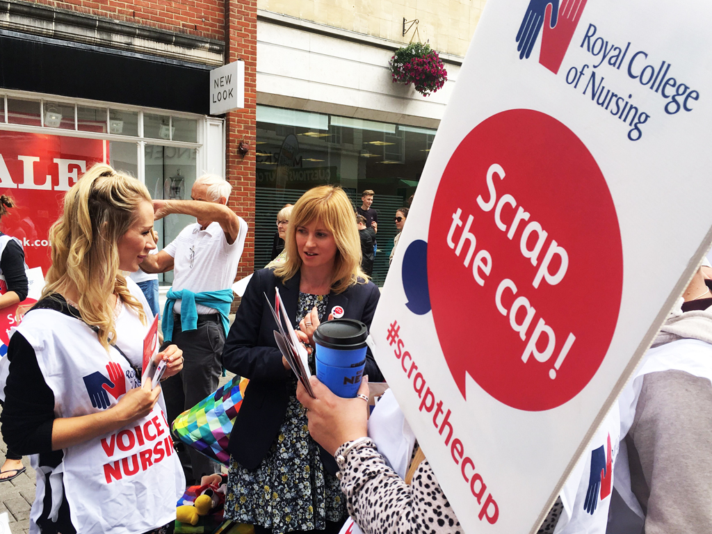 MP Rosie Duffield supports RCN rally in Canterbury